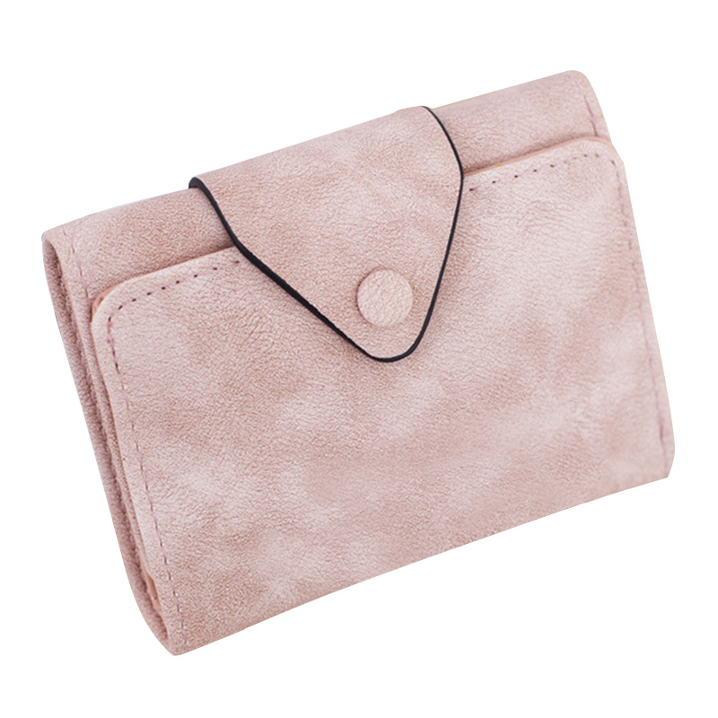 New Elegant Women Buckle Solid Short Purse Retro Nubuck PU Leather Girl Wallet for Money Two fold Card Holder Bags Coins Purses кошелек new brand purse ts49fe elegant wallet