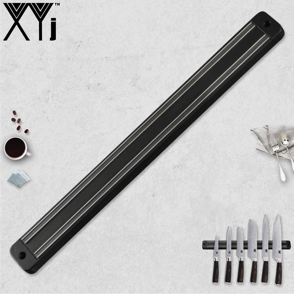 XYj Magnetic Knife Holder Wall Mount For Damascus Stainless Steel Knife Black ABS Metal Knife Block Magnet Knife Holder Block