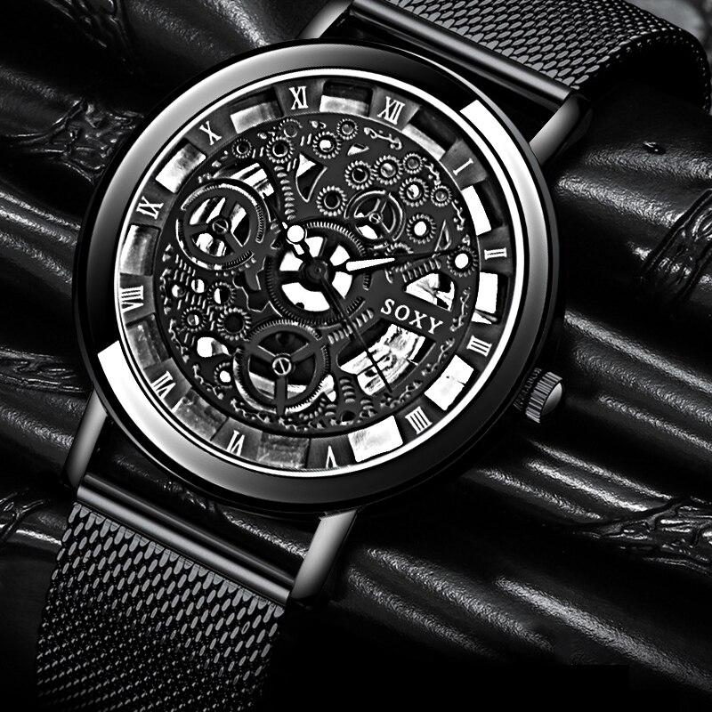 Relogio Masculino SOXY Skeleton Wrist Watch Men Watch Fashion Hollow Out Men's Watches Luxury Watches Men Clock Saati Relojes