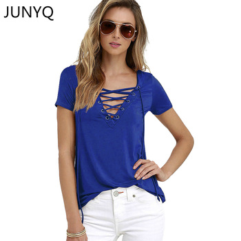 Sexy Deep V Neck Bandage Lace Up Tops Tees