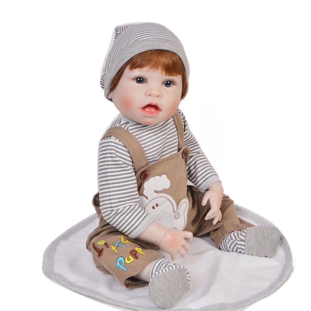 55 cm bebe reborn bébé Silicone dur Reborn poupées réaliste cheveux bruns garçon peut être lavé jouet pour filles enfants meilleur cadeau COL DOLLMAI