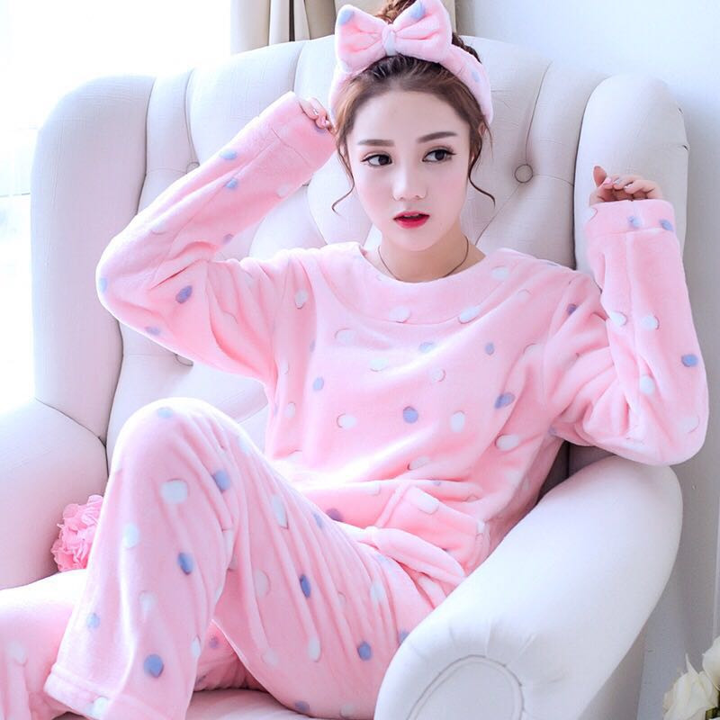 Autumn Winter Women Pyjamas Sets pajamas Sleepwear Suit Thick Warm Coral Flannel nightgown Female Cartoon Animal Pijama E0017