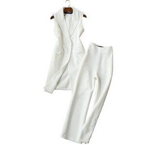Image 5 - Spring and Autumn New Korean Suit Two Sets Tide Long Vest Jacket Wide Leg Pants Set Nine Pants Female 2 Piece Set Women