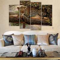 Unframed Large Canvas Paintings Leopard Paintings African Animal In The Tree Print Wall Art Picture Home