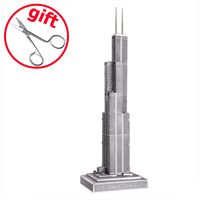 Piececool Sears Tower P004 S 3D Puzzle Metal Figure Toys Educational Puzzle Models Brinquedos Funny Gifts