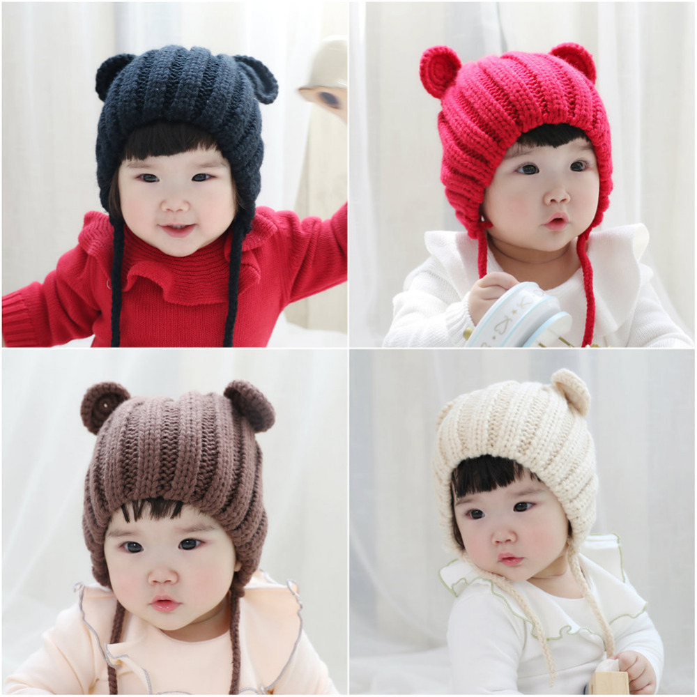New Baby Knitted Hat Cute Bear Ears Hat Soft Cotton Baby Beanie Solid Color Warm Winter Hat For Baby Girls Boys Knitted Hats