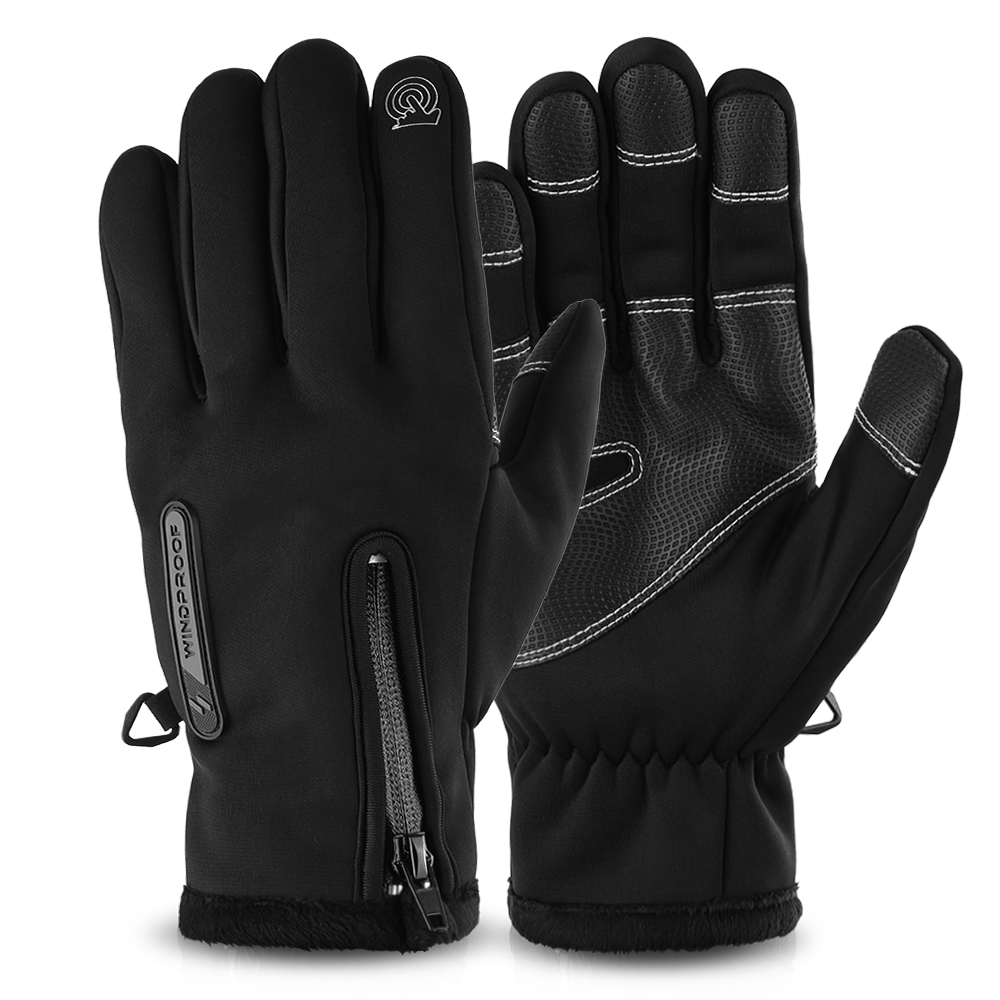 US Men Cycling Gloves Full Finger Winter Fleece Bike Bicycle Gloves Touchscreen