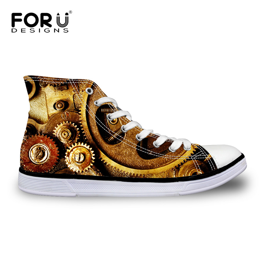 FORUDESIGNS Fashion Men High-Top Canvas Shoes Male Casual Vulcanized Shoes Cool Metal Gear Printed Leisure Lace-up Shoes for man hot sale 2016 top quality brand shoes for men fashion casual shoes teenagers flat walking shoes high top canvas shoes zatapos