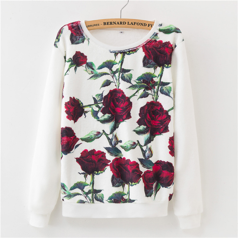 2018 Fashion Autumn Winter Sweater Floral Harajuku Print Pullover Soft Warm Loose Women Cotton Sweater Lady Casual Coat Outwear