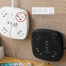 new smart power strip 4usb fast charging square wiring board 4 plug  anti-thunder china