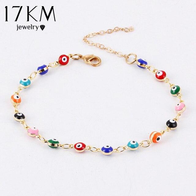 17KM Colorful Turkish Eyes Bracelt Simple Charm Bracelet & Bangle 2017 Gold Colo
