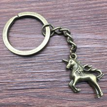Keyring Lucky Horn Horse Keychain 24x21mm Antique Bronze New Fashion Handmade Metal KeyChain Souvenir Gifts For Women A12693(China)