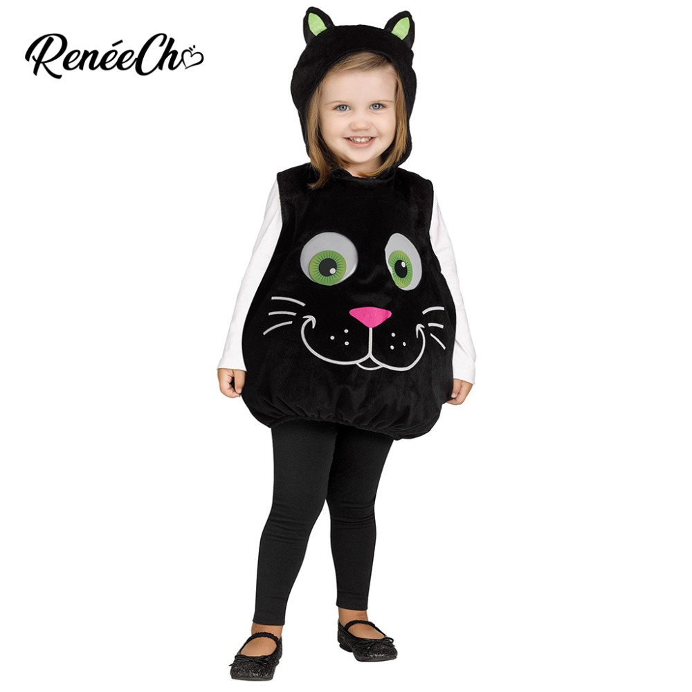 Halloween Costume For Baby Googly Eye Cat Toddler Costume Cute Infant Animal  Cosplay Black Cat Tunic de14e57dcf49