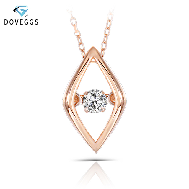 36763b267ebd DovEggs 10K Rose Gold 0.1ct carat Diamond Dancing Setting Pendant Necklace  For Women Rose Gold Link Chain Rhombus Necklaces