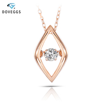 DovEggs 10K Rose Gold 0.1ct carat Diamond Dancing Setting Pendant Necklace For Women Rose Gold Link Chain Rhombus Necklaces