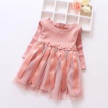 2016 printemps et automne nouveau-né filles robe arc mignon dentelle princesse robes pour enfants fille d'o-cou infantile filles tutu robe rose robe