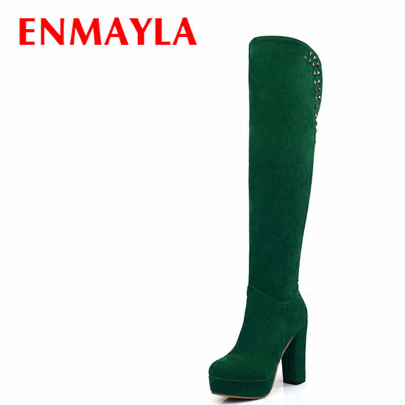 ENMAYLA Square High Heels Platform Knight Boots Round Toe Rivets Flock Shoes Woman Thigh High Boots Women Winter Slip-on Boots