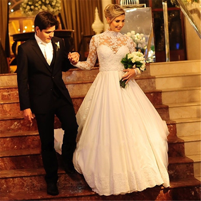 Lace Satin A-line High Neck Long Sleeves Dresses Sheer Back Court Train Gown Floor Length Wedding Party Dress
