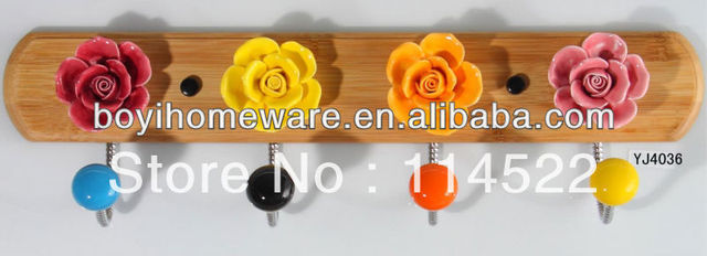 new design wood four hooks with colored ceramic flowers and knobs ball coat rack clothes hanger towel hook wholesale YJ4036