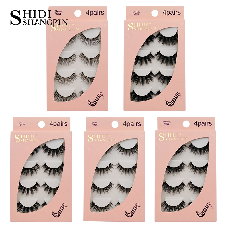 HTB11fwuaJfvK1RjSspfq6zzXFXar Natrual long 3D Mink False Eyelashes wholesale 4 pairs Fluffy Make up Full Strip Lashes 3D Mink Lashes faux cils Soft Maquiagem