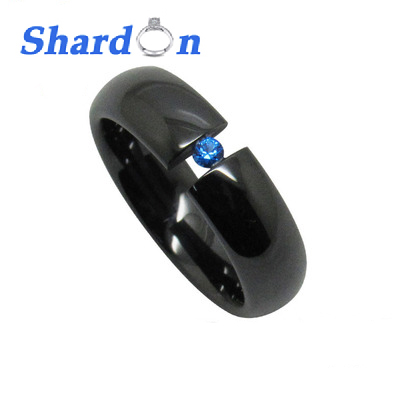 SHARDON Romantic Ceramic Ring for couples Wedding band with IP black gun plated Engagement ring with blue CZ stone