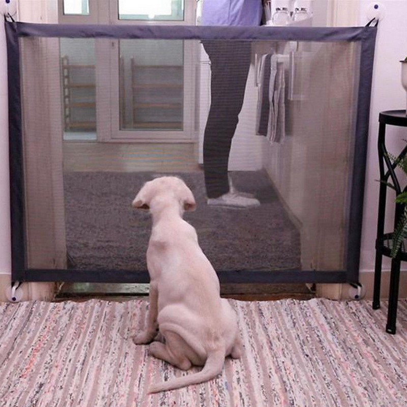 Dog Gate Portable Folding Safe Guard Protection Safety Products Mesh Magic Pet Gate For Dogs Baby Safe Guard Children Baby Fence