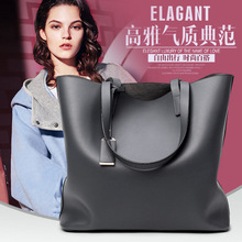 The new female bag Simple pure color lady single bucket shoulder hand bags