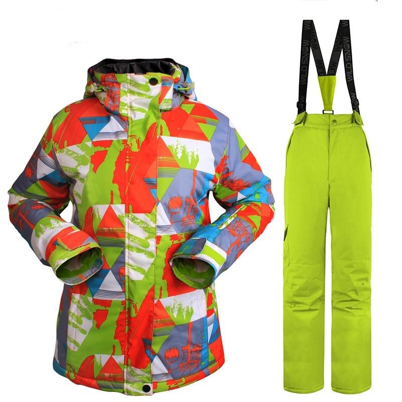 Prix pour 2016 Nouveau Coupe-Vent Imperméable Ensemble D'hiver Fleurs Impression Thermique Vêtements ski ou Snowboard Costume pour Femmes de Ski Veste de Ski + pantalon