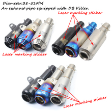 Universal 38-51mm Stainless Steel Motorcycle Exhaust Muffler Pipe with Removable DB Killer Silencer System For Yamaha 250/350 motorcycle exhaust muffler pipe stainless steel exhaust system pipe removable db killer universal 38 51mm silencer tube escape