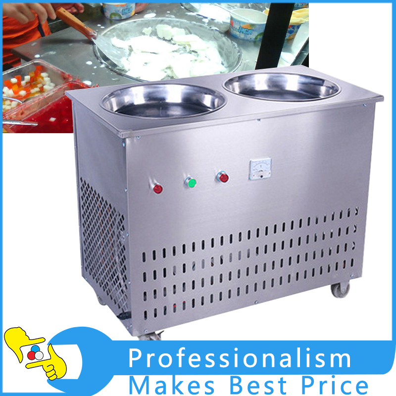 220V 1600W Double Pan Fried Ice Machine Stainless Steel Fried Ice Maker double pan fried ice roll pan machine stainless steel 45cm pan fried frying ice cream machine with salad fruit workbench 10pcs
