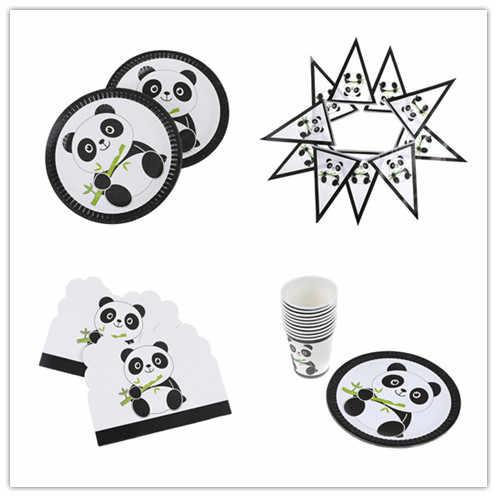 Wystrój na święta bożego narodzenia talerze/kubki/serwetki/baner/karta zaproszenie/obrus chiński Panda Party zestaw dekoracyjny Kid Baby Shower