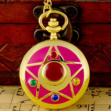 Classic Fashion Pink Sailor Moon Crystal  Quartz Pocket Watch Charm Women Gold Pendant Necklace Clock Gift