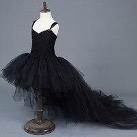 שחור אלגנטי ילדה תינוק שמלת טוטו בנות פוני מקיר לקיר רכבת צווארון V מסיבת יום הולדת שמלת טוטו שמלות טוטו שמלת תחפושת ליל כל הקדושים לילדים