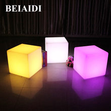 BEIAIDI 30CM Outdoor LED Cube Chair Bar Table Light 16 Color Wedding Party Cube Stool Lamp Led illuminated Furniture Cube Light(China)