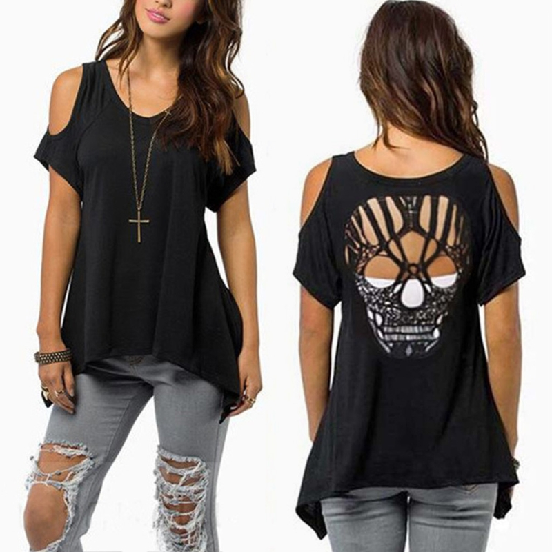 Women Cold Shoulder Short Sleeve T-Shirt Cut Hollow Skull Backless Casual 2