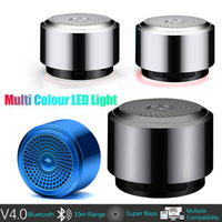 led music HOT Mini Bluetooth Speaker USB Colorful Led Light Wireless Portable Music Box Subwoofer Small Speaker With Changing Lights R0327 (1)