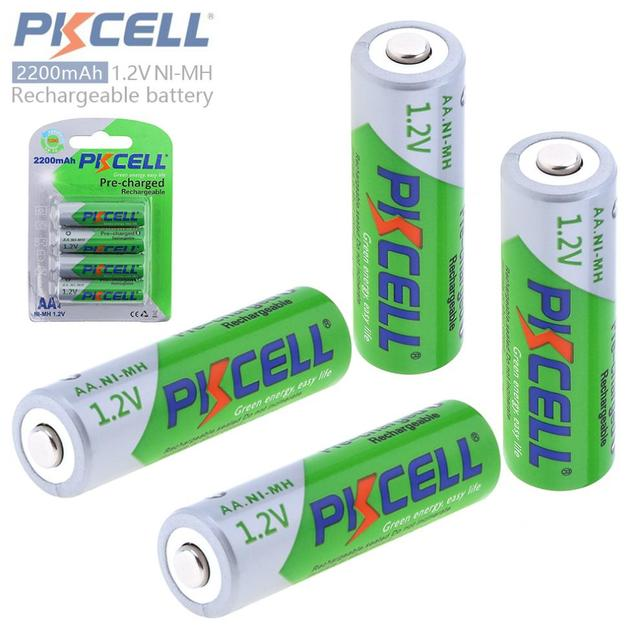 PKCELL 4Pcs Set 12V 2200mAh Nimh Aa Battery Rechargeable NIMH Batteries Low Self