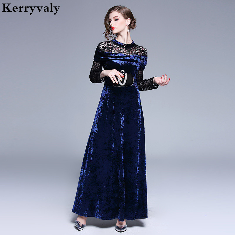 Women Long Party Office Runway Gothic Velvet Dress Robe Femme Hiver 2019 Winter Jurken Dames Long