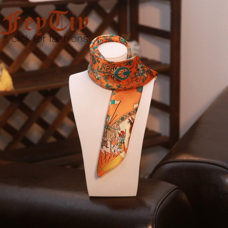 100% Silk Scarf Women Orange Bandana Luxury Brand Square Scarves Tree Of Life Printed Neckerchief Fashion Foulard Wraps 53x53cm
