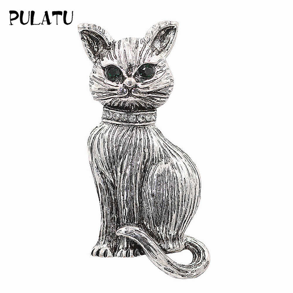 PULATU Vintage Silver Color Cat Brooch Pins for Women Corsage Clips for Suit Scarf Dress Decoration Broach Jewelry Accessories