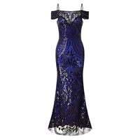 Mosdelu Off Shoulder Vintage Sequined Party Dresses Women Sexy Retro Bodycon Mermaid Dress Gatsby Cocktail Summer