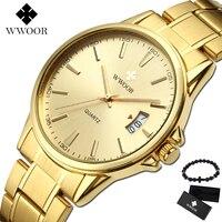 2019 Novos Homens Relógios Top Marca de Luxo de Ouro de Aço Inoxidável Ouro Hodinky men Relógio de Pulso À Prova D' Água Relógio Masculino Relogio masculino