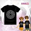 Cute Girls Anime Card Captor Sakura Magic Circle Impreso Verano de Manga Corta Camiseta de La Camiseta Tops de Color Negro