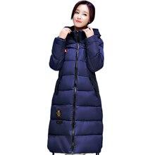 2016 European Style New Winter Female Down Cotton Jacket Long Thicken Coat Casual Warm Women Hooded Parkas Overcoat WY455