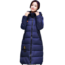 2016 European Style New Winter Female Down Cotton Jacket Long Thicken Coat Casual Warm Women Hooded Parkas Overcoat WY455