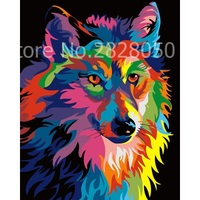 Colorful Wolf Animal Canvas Oil Painting By Numbers Frameless Acrylic Painting Coloring By Numbers Paint By