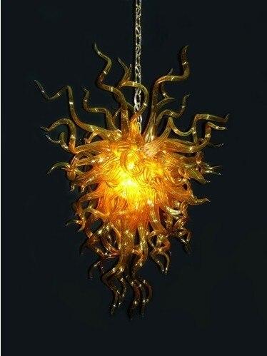 Chandeliers Cooperative Mini Amber 110v/240v Villa Light Cheap Modern Art Hand Blown Art Glass Lighting Chandelier