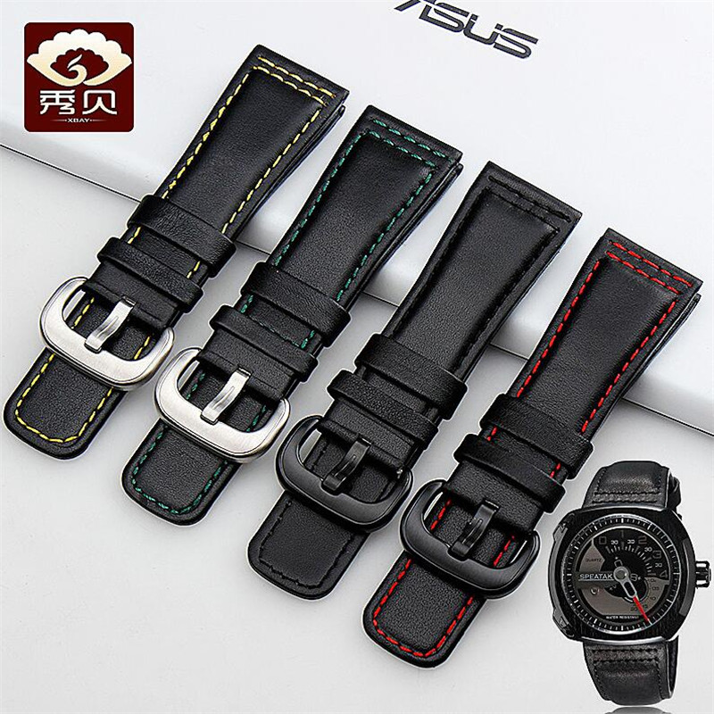 New Durabel Genuine Leather Watchband Black With Red/Green/Yellow Thread Smooth Calfskin Strap For SEVENFRIDAY Watch Men On Sale