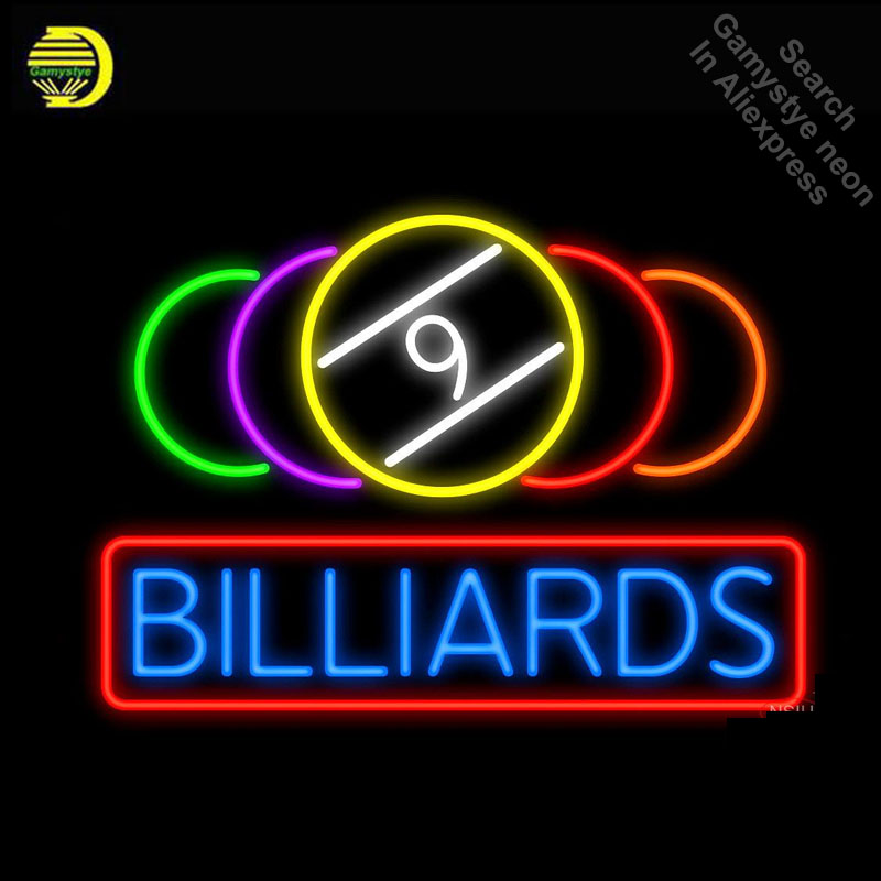 9 Ball Billiards Real Neon Glass Neon Sign Neon Bulbs Store Display Glass Tube Handcraft Recreation Advertising Gifts VD 17x14