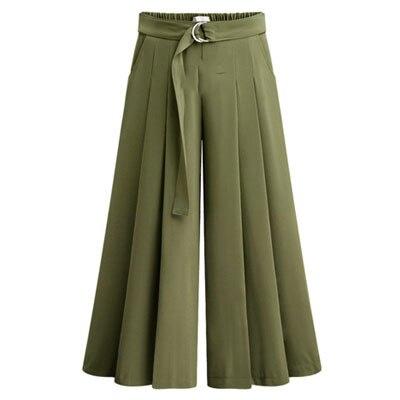 Новое поступление летние европейские Стильные повседневные свободные женские широкие брюки размера плюс женские брюки стрейч - Цвет: Army Green